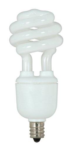 Satco S7362 9-Watt Candelabra Base T2 Mini Spiral, 4100K, 120V, Equivalent To 40-Watt Incandescent Lamp For Enclosed Fixtures