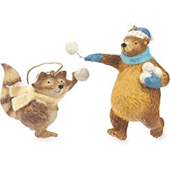 Forest Frolics Raccoon and Bear Snowball Fight Ornament Set