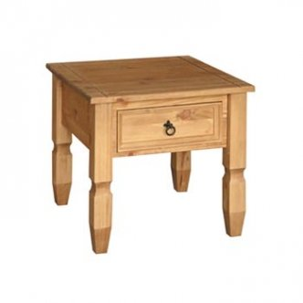 Santa Fe Pine Lamp, Side, End Table with drawer
