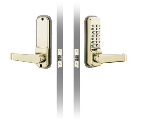 "Pushbutton Codelocks Mechanical Lock 2.3/4"" (70 Mm) Tubular Latch Medium Grade No Key Code Free Reversible Lever Polished Brass front-306212"