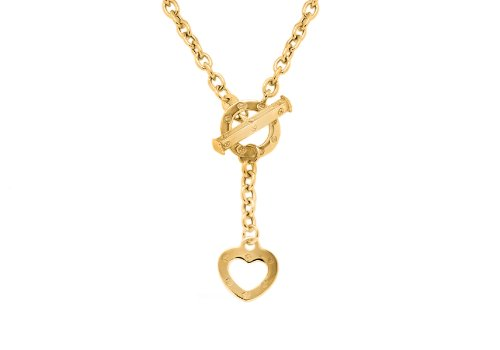 9ct Yellow Gold Heart T Bar Belcher Curb Chain Necklace 46cm/18