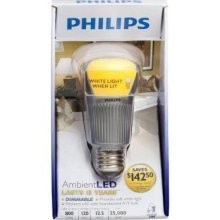 QTY 4 / Philips Ambient LED Light Bulb - Dimmable - 60 Watt Replacement - Warm White (2700K) - 800 Lumens