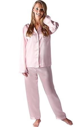 Del Rossa Women's Classic Satin Pajama Set - Long Pjs, Small Pink (A0750PNKSM)