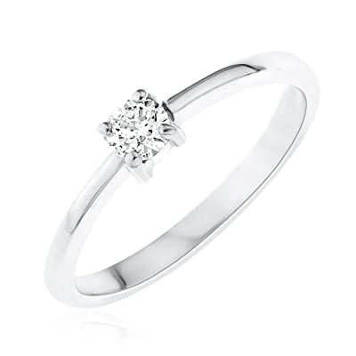 Kareco 9ct White Gold Ladies 15pt Diamond Solitaire Ring