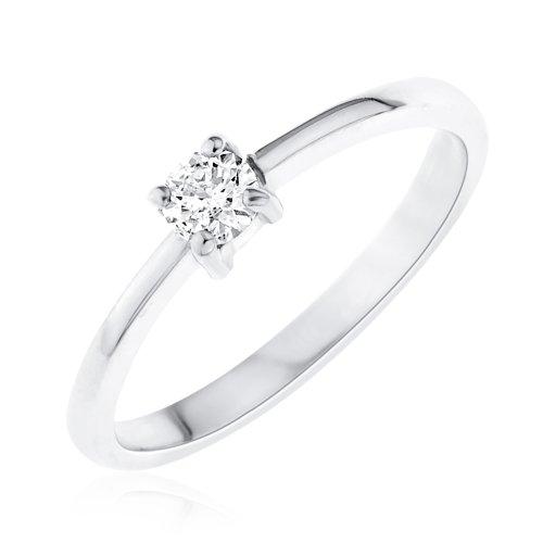 2b25ba580e47 Bague - Z - RD1050DI 15 - Anillo de mujer de oro blanco (9k) con 1 diamante  (talla  24.5)