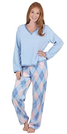 Blue and Pink Fleece Argyle Pajamas for Women, Extra Small (2-4)