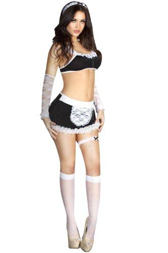 French Maid Outfit Top, Rock, Strümpfe, Stulpen, Haarreifen, Strumpfband undPanty