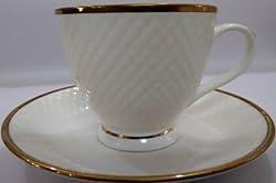 Famacart Tableware Serving Gold White Bone China Tea Coffee Cups Mugs Saucer Set of 12 Pcs
