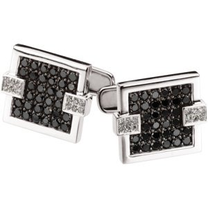 14KW W/BLACK RHOD PLATE Gold PAIR 2 CT TW Black And White Diamond Cuff Links Ring Size 10