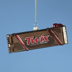 Chocolate Twix Candy Bar Glass Christmas Ornament