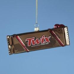Chocolate Twix Candy Bar Glass Christmas Ornament