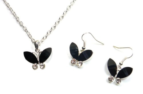 Butterfly Pendant Necklace and Earrings Set - Black, 45cm+7cm
