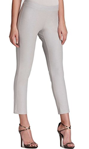 Eileen Fisher Washable Stretch Crepe Slim Pant with Yoke Silver (X-Large)