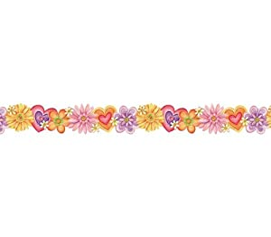 Amazon.com: Flower and hearts Die Cut Wallpaper Border: Home & Kitchen