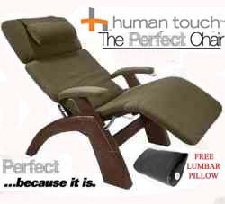 The Human Touch Power Electric Perfect Chair Recliner - PC95 / PC-095 Dark Walnut Recline Wood Base Sage Dark Green MicroSuede Pads - Interactive Health Zero Anti Gravity Chair
