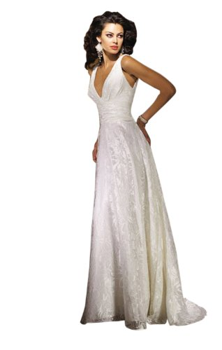Sheath/Column V-neck Court Train Wedding Dress With Lace White