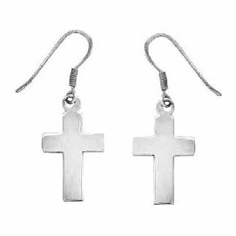 Christian Women's Sterling Silver Medium Christian Cross Dangle Earrings - Purity, Chastity Earrings for Girls
