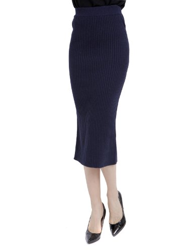 Doublju Women's For Winter Use Corrugated Knit long Skirt NAVY L Image