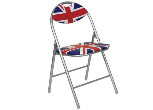 Cool Britannia Union Jack Folding Chair with Padded Back and Seat