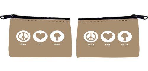 Rikki KnightTM Peace Love Vegan Design Design Scuba Foam Coin Purse