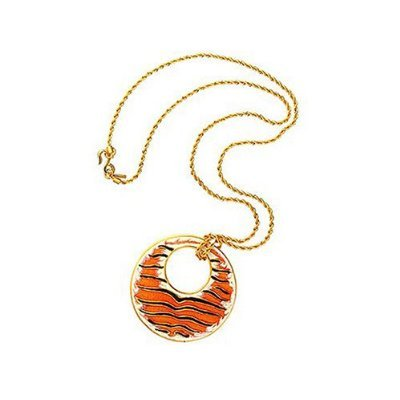 Kenneth Jay Lane Black, Tan, Burnt Orange, Tiger Print Pendant Necklace (18