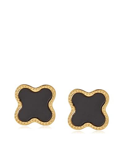 Chloe by Liv Oliver 18K Gold-Plated & Onyx Clover Stud Earrings