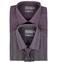 2 Pack Easy Care Striped Shirts with Tie