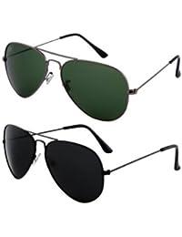 Sheomy Unisex Combo Pack Of Aviator Sunglasses For Men And Women - Mirrored Sunglasses ( Black-Black-Grey-Green...