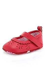 Leather Riptape Cut-Out Pram Shoes