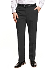 Crease Resistant Flat Front Plain Trousers