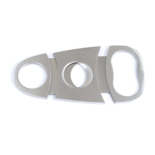 YINO Pocket 2 in 1 Stainless Steel Tobacco Cigar Cutter Scissors Knife Double Blade Cut with Bottle Opener Functions