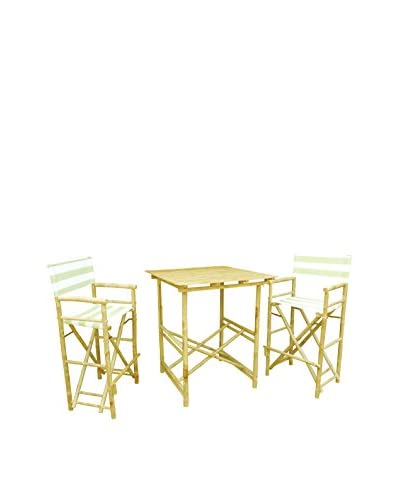 ZEW, Inc. High Table & Director Chair Set, Celadon Stripes