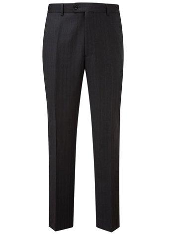 Austin Reed Regular Fit Charcoal Herringbone Trouser SHORT MENS 36