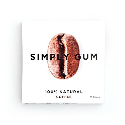 Simply Gum 100% Natural Chewing Gum Coffee - 6 Packs (15 Pieces Each Pack)