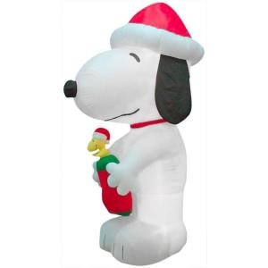 10' Tall Snoopy & Woodstock in Christmas Stocking Airblown Inflatable Holiday Peanuts Gemmy