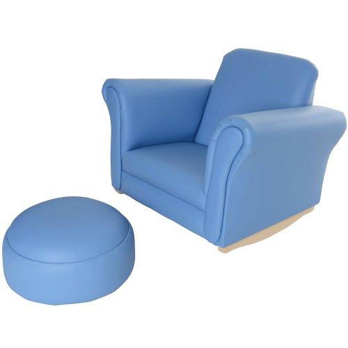 Children's PU Leather Look Rocker Rocking Armchair Seat & Footstool - Baby Blue