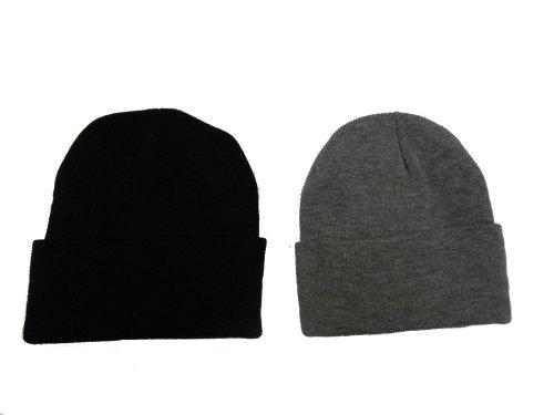 Great Deals! 2 Pack Knit Beanies / Black & Dark Gray