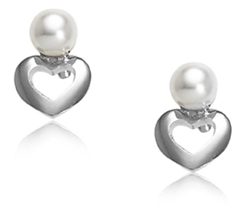 Children's Sterling Silver Open Heart with Freshwater Cultured Pearl Safety Earrings