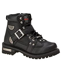 Hot Sale Milwaukee Motorcycle Clothing Company Road Captain Leather Women's Motorcycle Boots (Black, Size 8.5C)