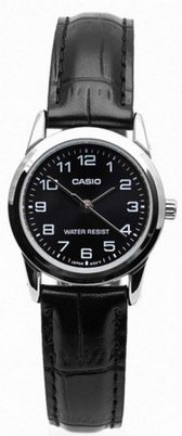 LADIES BLACK DIAL CASIO WATCH WITH BLACK LEATHER STRAP
