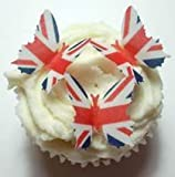 24 x Pre Cut Union Jack British UK United Kingdom Queens 90th 90 Birthday Street Party Celebrations Flag Butterfly Butterflies Fairy Muffin Cup Cake Toppers Decoration Edible Rice Wafer Paper