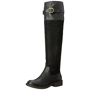 The Lucky Brand Nivo riding boots are the perfect Fall boot! The knee high boots feature suede and leather uppers, adjustable buckle at leg opening as well as opening in back for comfort, and a slight heel on a treaded man made sole. America's favori...