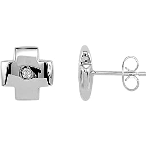 Genuine IceCarats Designer Jewelry Gift Sterling Silver Diamond Earrings. Pair .015 Ct Tw Diamond Earrings In Sterling Silver