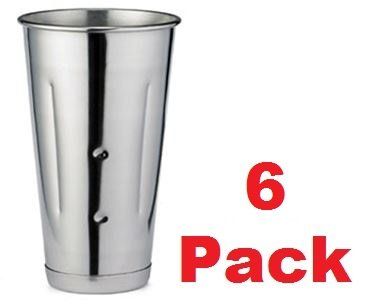 Get (6 Pcs.) 30 Oz. Malt Cup Stainless Steel Milkshake Ice Cream Mixer Mixing Cup 6 Pack dispense
