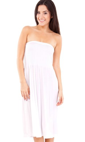 Strapless Seamless White Smocking Tube Dress