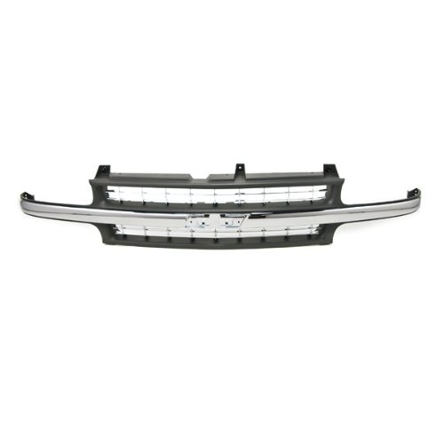 CarPartsDepot, Front Grille Assembly Raw Black Grill Frame/Chrome Bar Center Molding No Emblem, 400-15169 GM1200424 15764313 (2002 Chevy Silverado 2500 Grill compare prices)