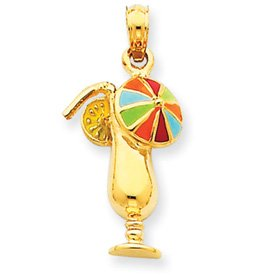 14k Enameled Tropical Drink Pendant - Measures 25.7x12.3mm - JewelryWeb