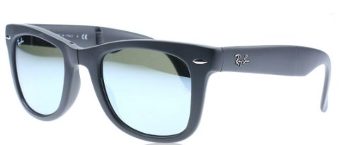 Ray Ban RB4105 Fold Wayfarer Sunglasses-6022/30 Black (Gray Mirror Lens)-50mm