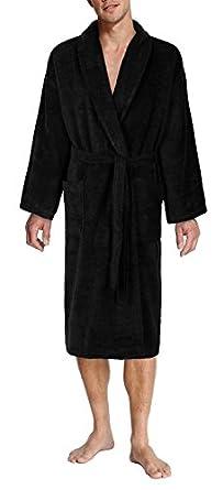 John Christian - Peignoir en éponge à col châle de qualité supérieure - 100% Coton - Homme - Noir (XL)