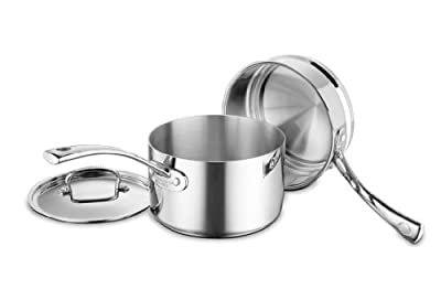 Cuisinart FCT1113-18 French Classic Tri-Ply Stainless 3-Piece Saucepan and Double Boiler Set